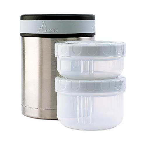 Laken - Termo para comidas con 3 contenedores de acero inoxidable, 1 L.