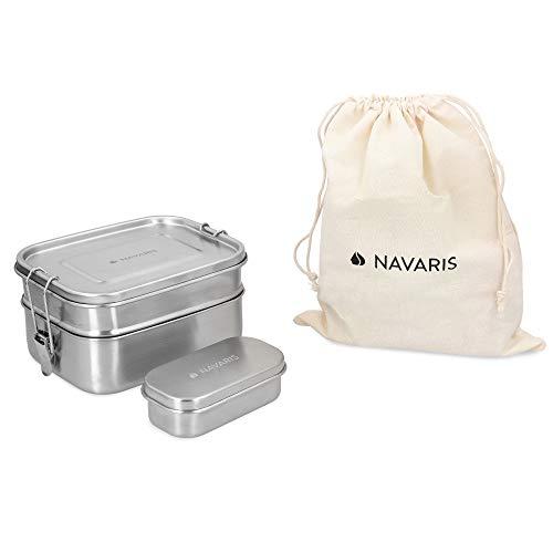 Navaris - Fiambrera de Acero Inoxidable para hermético con 3 secciones  de 1,4 L