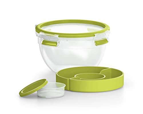 Emsa Clip&Go Saladbox - Recipiente hermético compartimentado para ensalada y salsas.