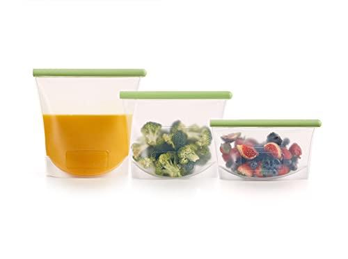 Lékué - Bolsas de Silicona para conservar alimentos de 500, 1000 y 1500 ml