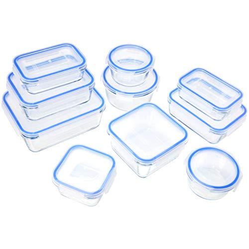 Amazon Basics - Recipientes de cristal para alimentos, con cierre 20 piezas (10...
