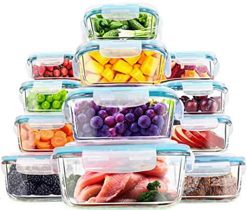 KICHLY - Recipientes de vidrio para comida - 12 piezas (6 envases, 6 tapas de...