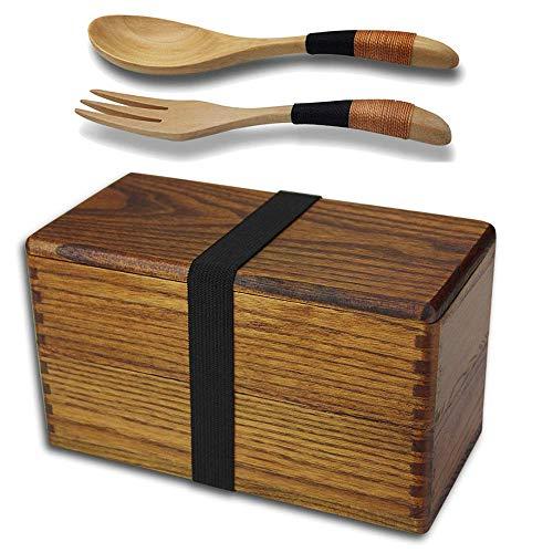 Fiambrera japonesa de madera natural